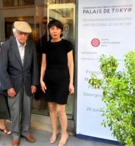 Marcel Barbeau et Marion Chauvy directrice et propriétaire de la galerie au vernissage de l'exposition. 20-06-2013.