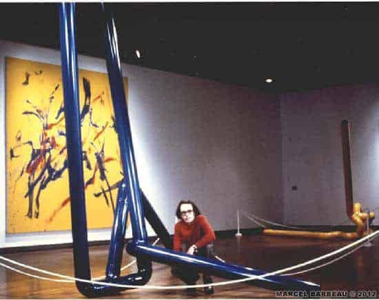 "On the left side, "" Suite sonore"", a performance painting inspired by Vincent Dionne music (spring 1975). The sculptures are part of the ""Pipes Dreams"" series (1973 -1974). Photo Yvan Boulerice for Marcel Barbeau. ©Yvan Boulerice."