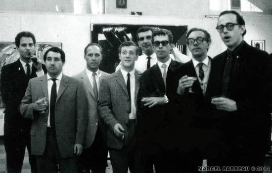 Guest artists at Fairleigh-Dickenson University Art Op Seminar-1965. Fro left to right: Luis Carmintzer (Germany), Hans Breder (Germany), Arnold Schmidt (USA), Cornelius Rijk Van Ravens (Nederland), Tosun Bayrak (Turky), Jean-Pierre Yvaral (France), Marcel Barbeau (Canada), Francis Celentino (USA). Frederico Garcia Rossi (Argentine) et Wojciech Fangor (Pologne) are missing on this photograph.