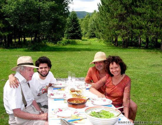 From left to right: Marcel Barbeau, hi grandson Manuel, his son in law Philippe Lavalette and his daughter Manon Barbeau.